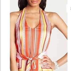 Ann Taylor orange chain link striped halter top